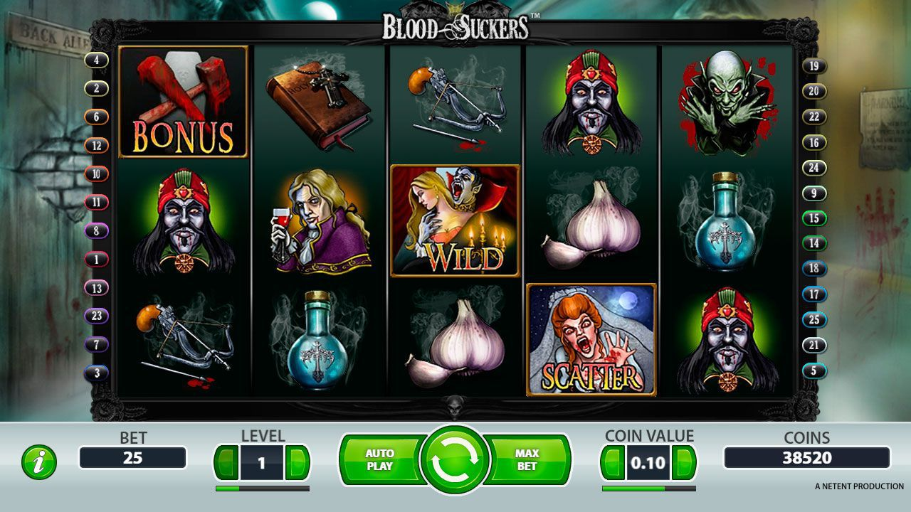 Gaming process at Blood Suckers slot machine