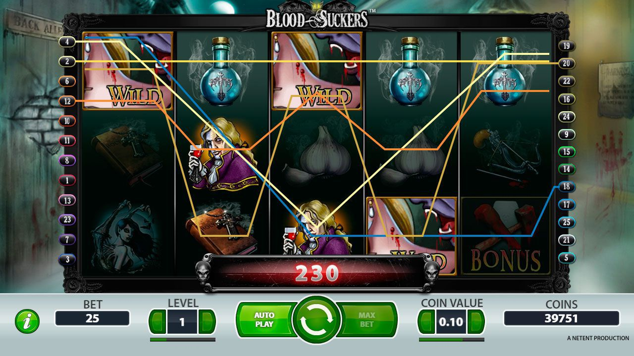 Win line at Blood Suckers slot