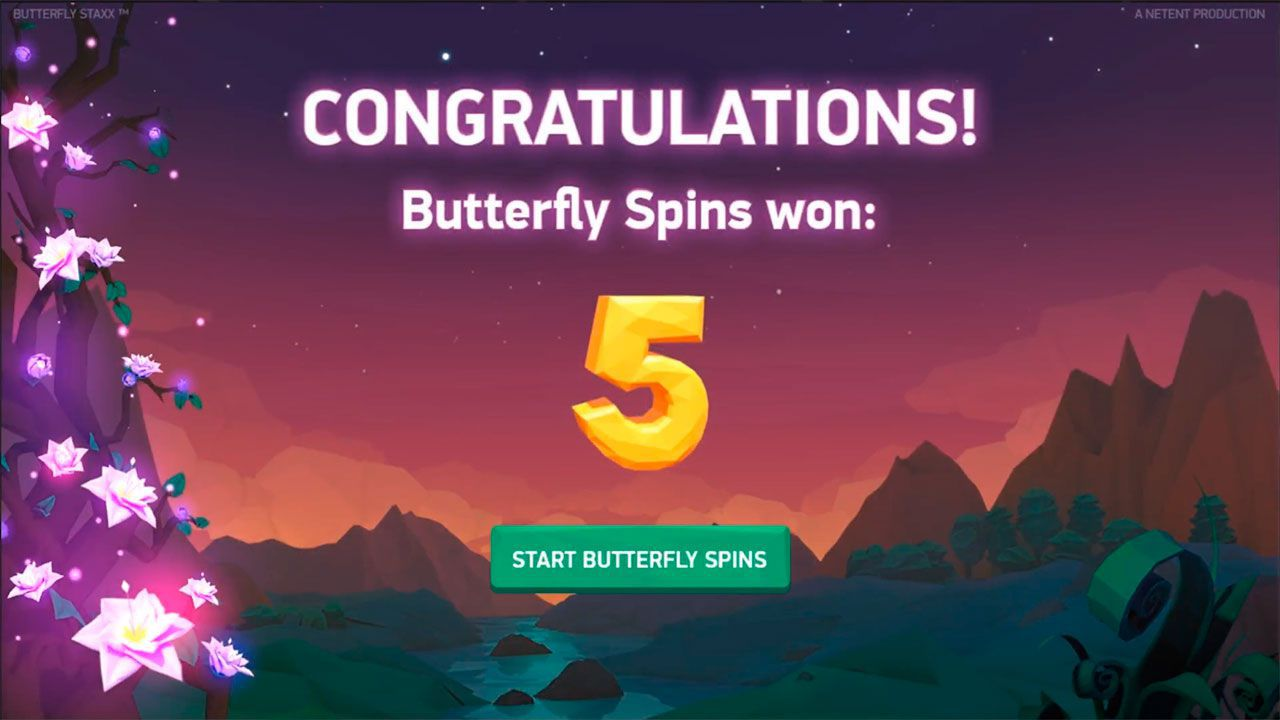 Intro to bonus game at Butterfly Staxx