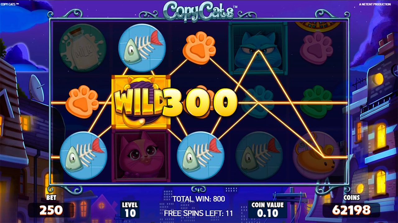 Free Spins round at Copy Cats slot machine