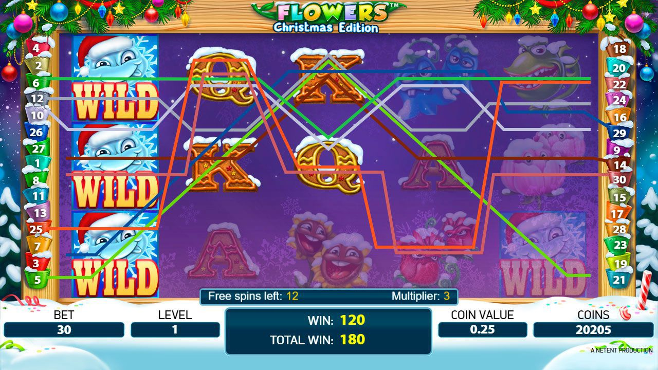 Free Spins round at Flowers: Christmas Edition slot machine