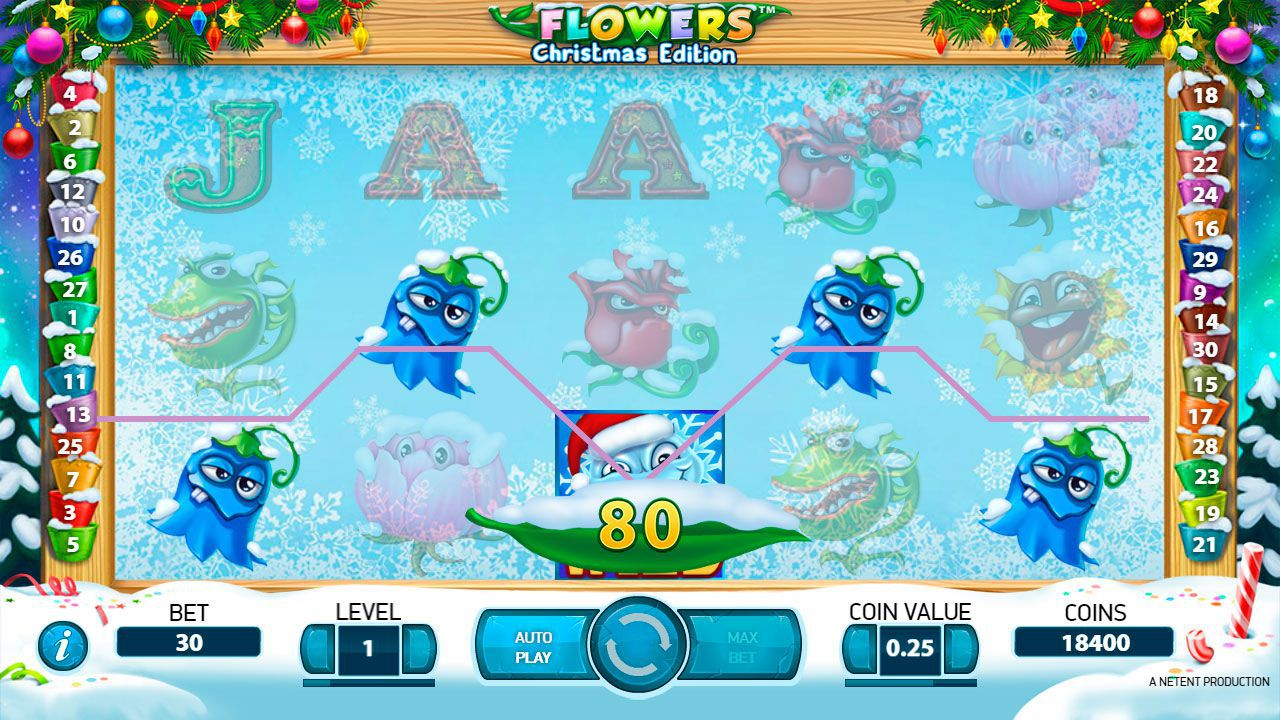 Gaming process at Flowers: Christmas Edition slot machine