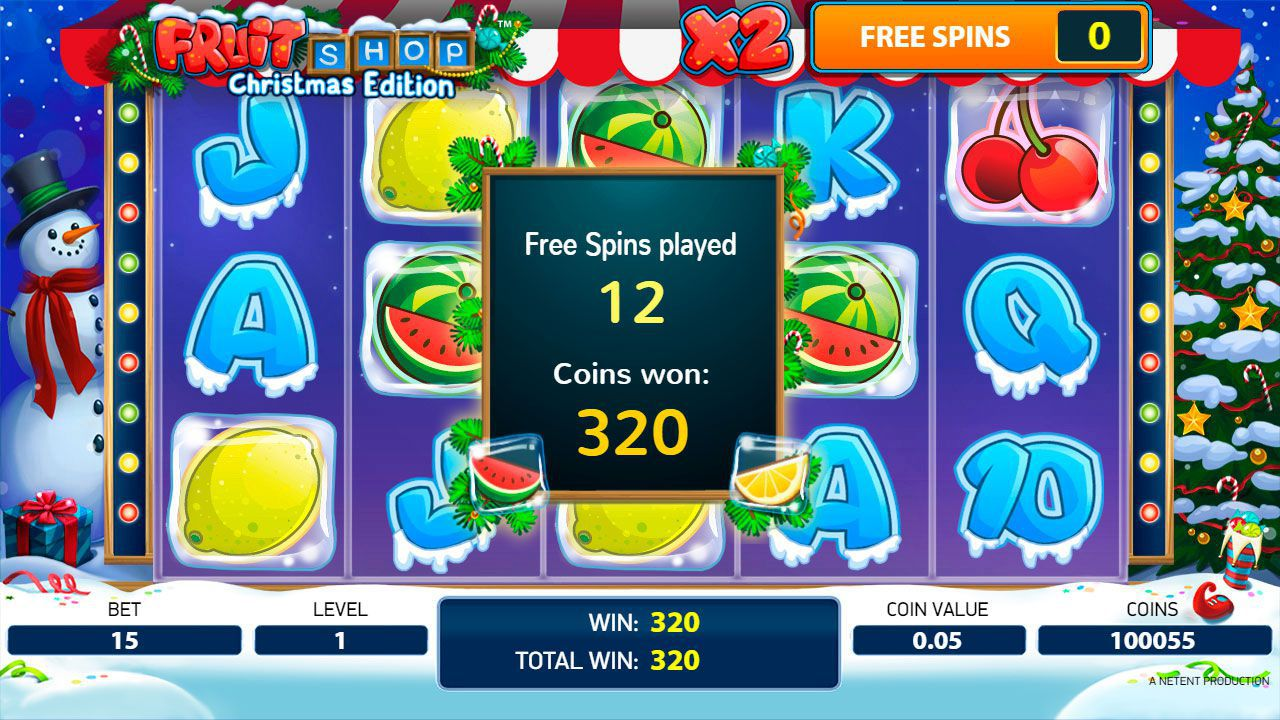 Ending of Free Spins game at Fruit Shop: Christmas Edition video slot