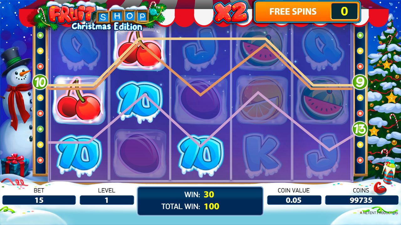 Gaming process during Free Spins at Fruit Shop: Christmas Edition slot