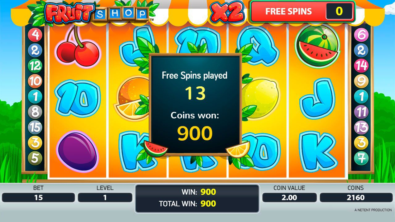 Ending of Free Spins round at Fruit Shop slot machine