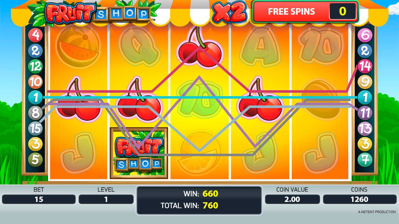 Gaming process of Free Spins round at Fruit Shop slot machine
