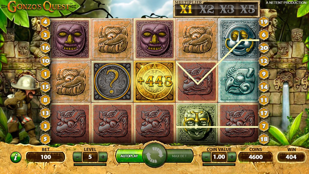 Gaming process at Gonzo's Quest slot machine