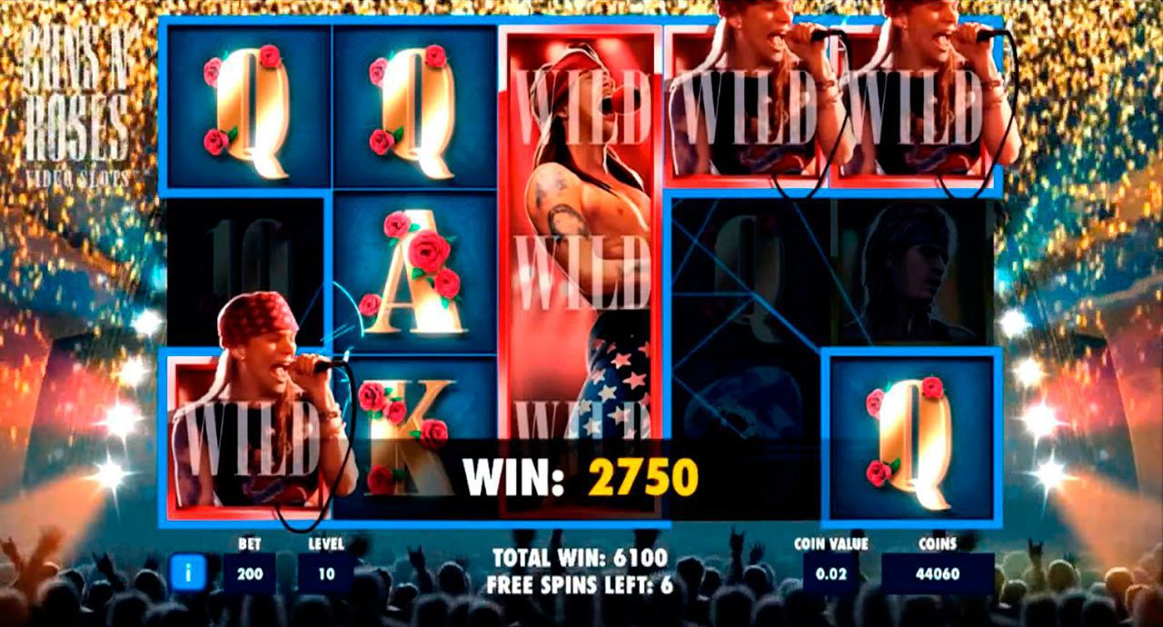 Encore Free Spins bonus game at Guns N' Roses slot machine