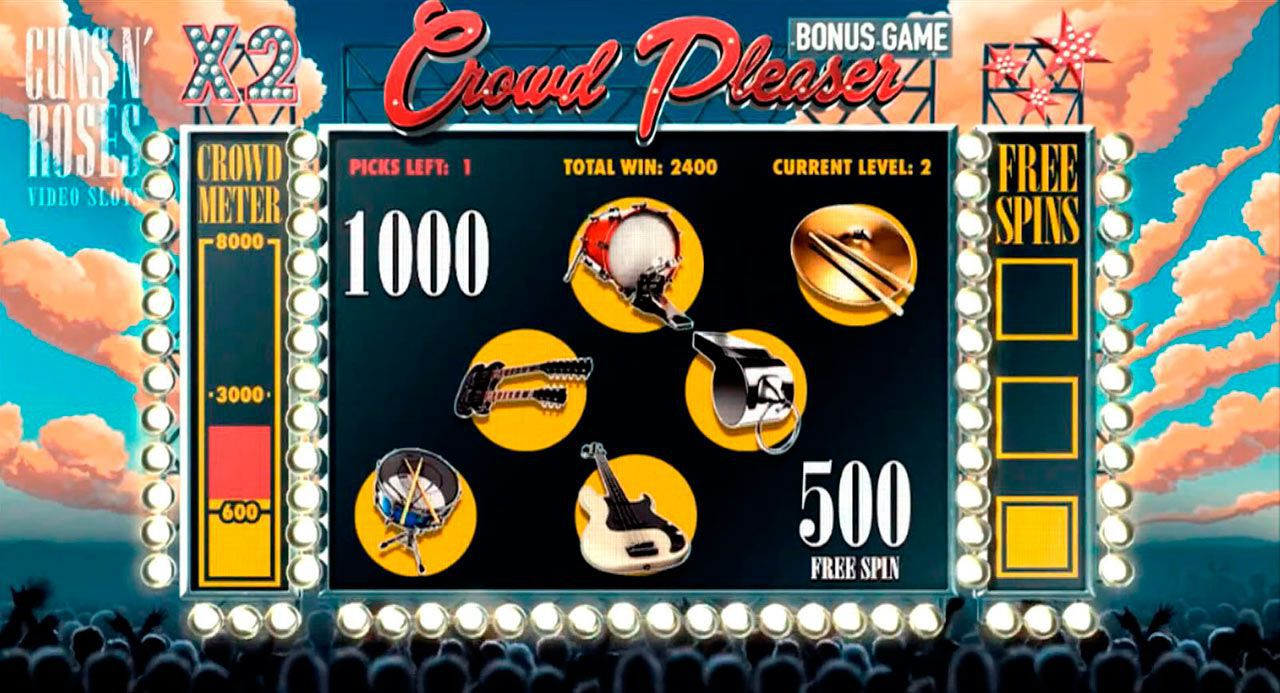The Crowd Pleaser Bonus Game at Guns N' Roses slot machine