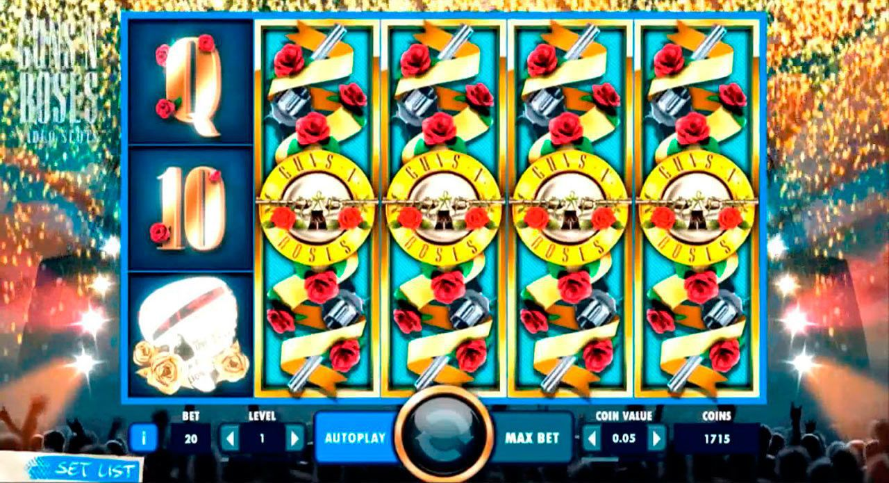Expanding Wild feature at Guns N' Roses video slot
