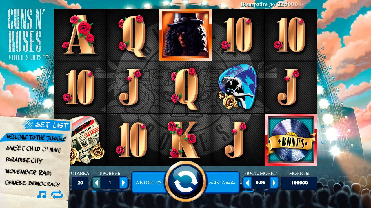 Design of Guns N' Roses slot machine