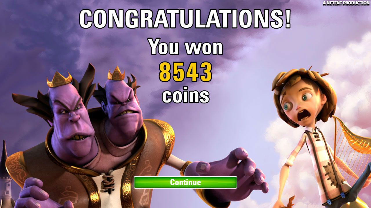 Ending of Free Spins round at Jack and the Beanstalk video slot