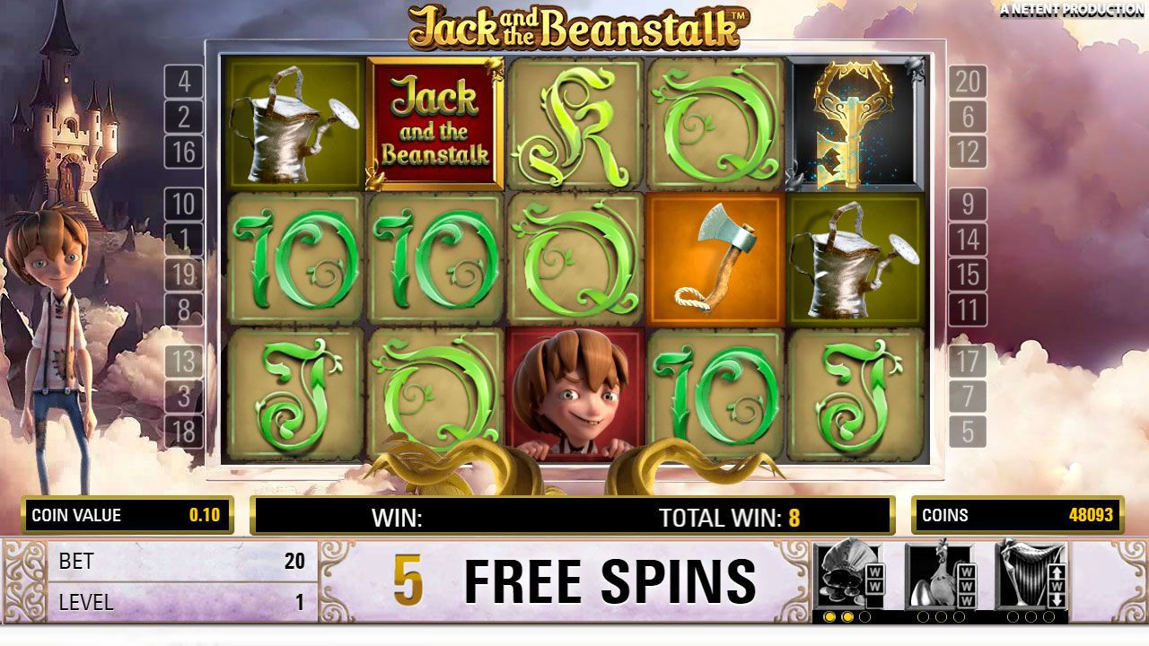 Free Spins round at Jack and the Beanstalk slot machine