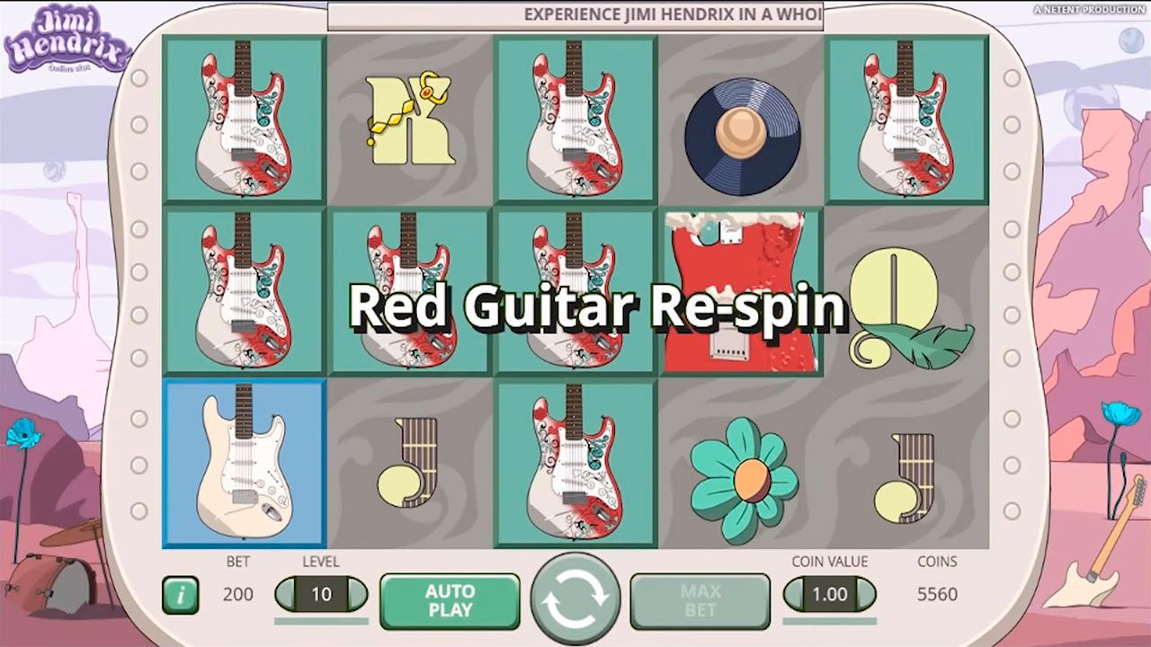 Red Guitar Re-Spin feature at Jimi Hendrix video slot