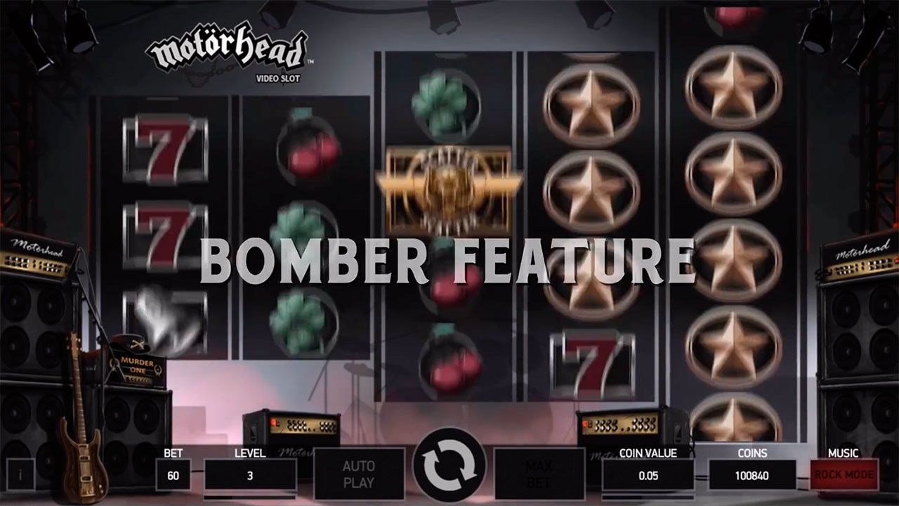 Activating of Bomber Feature at Motörhead slot machine