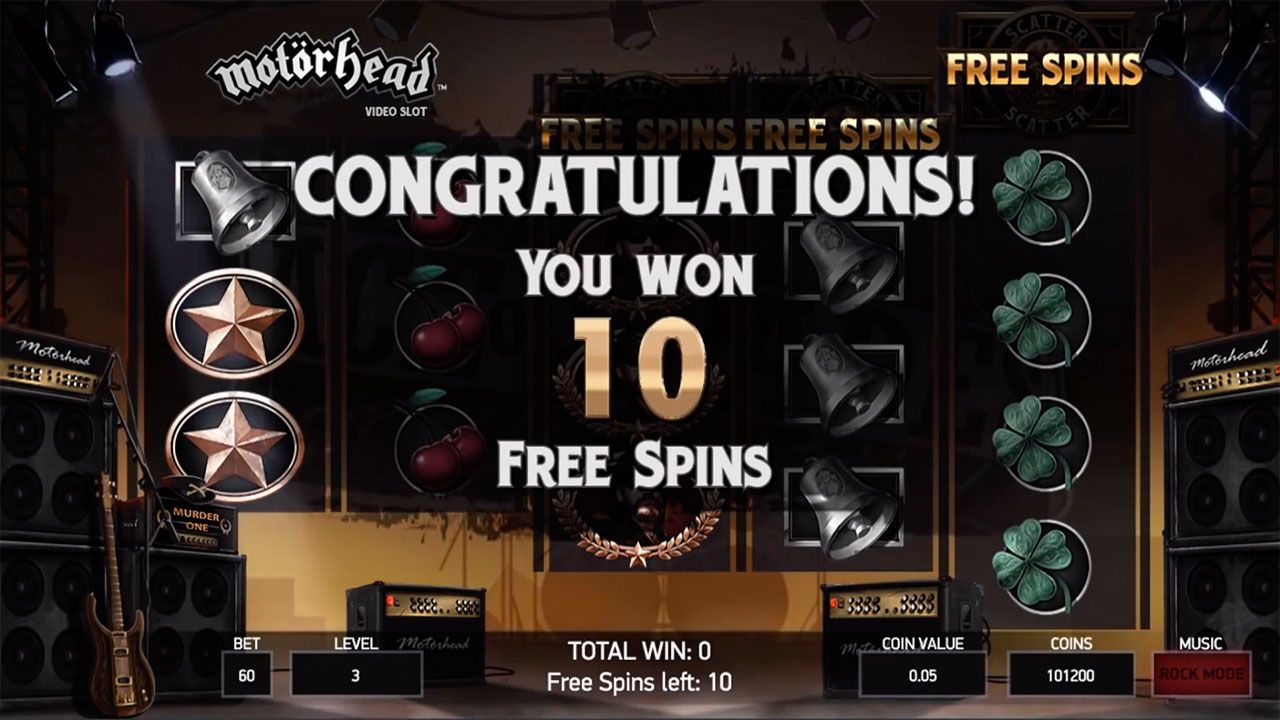 Activating of Free Spins round at Motörhead video slot