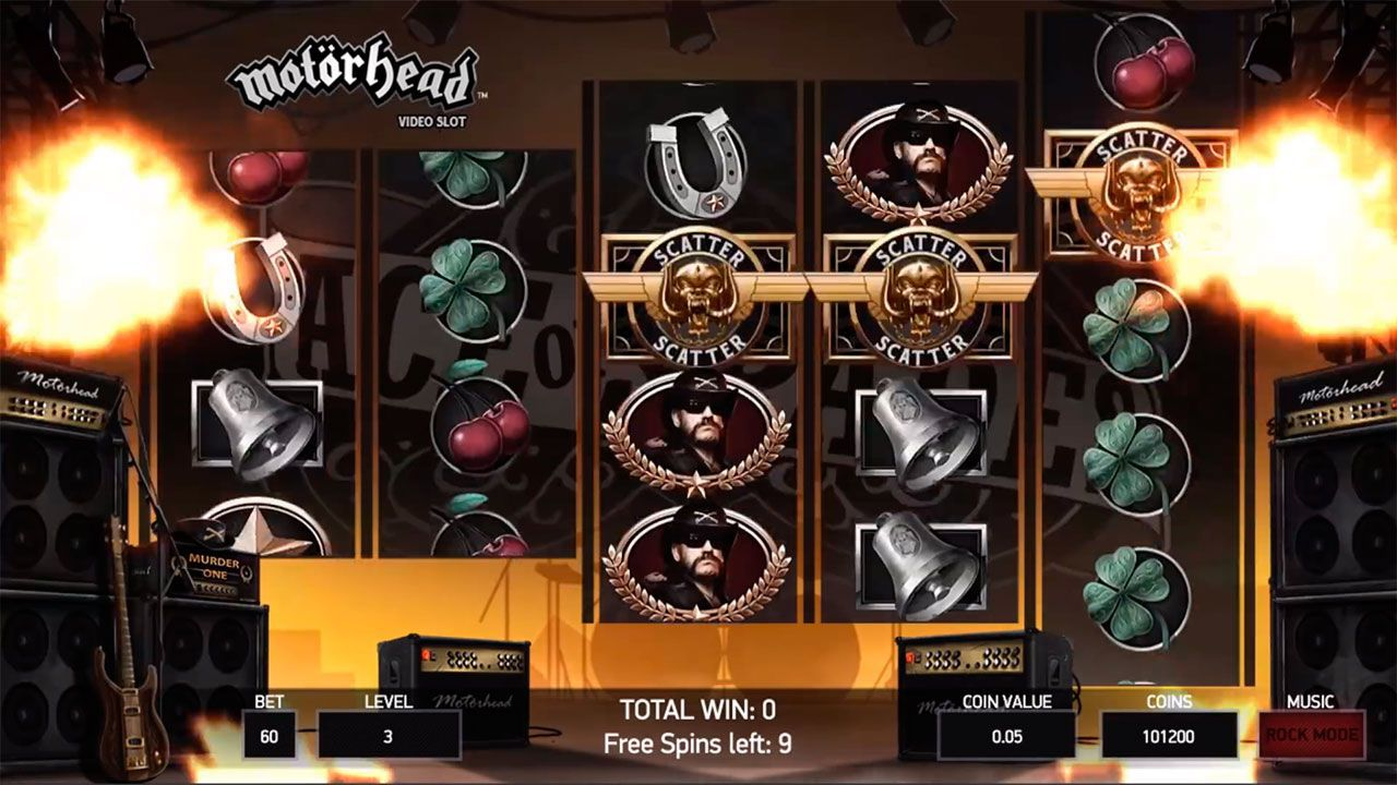 Free Spins round at Motörhead slot machine