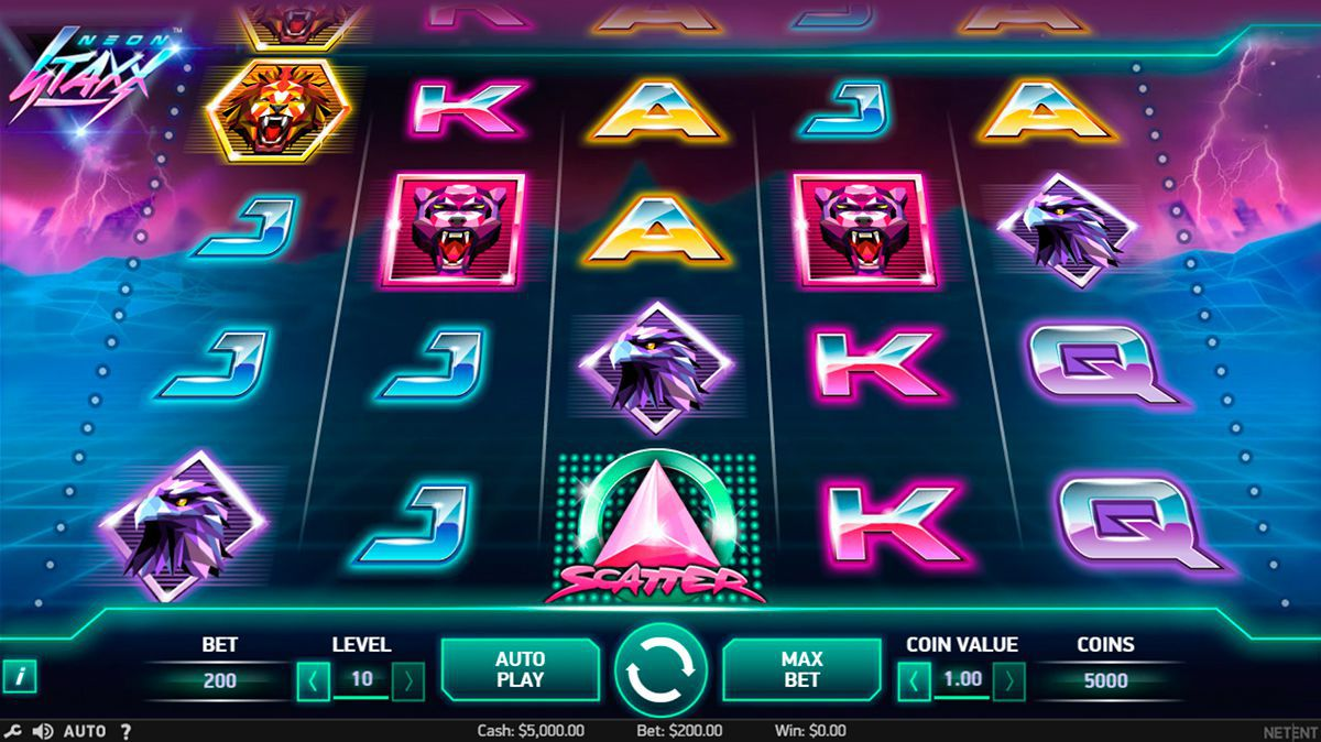 Gaming process at Neon Staxx slot machine