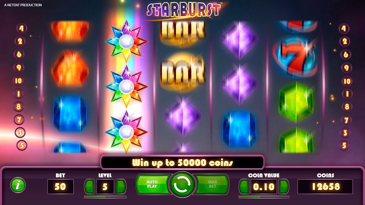Activation of Wild Re-Spin feature at Starburst slot machine