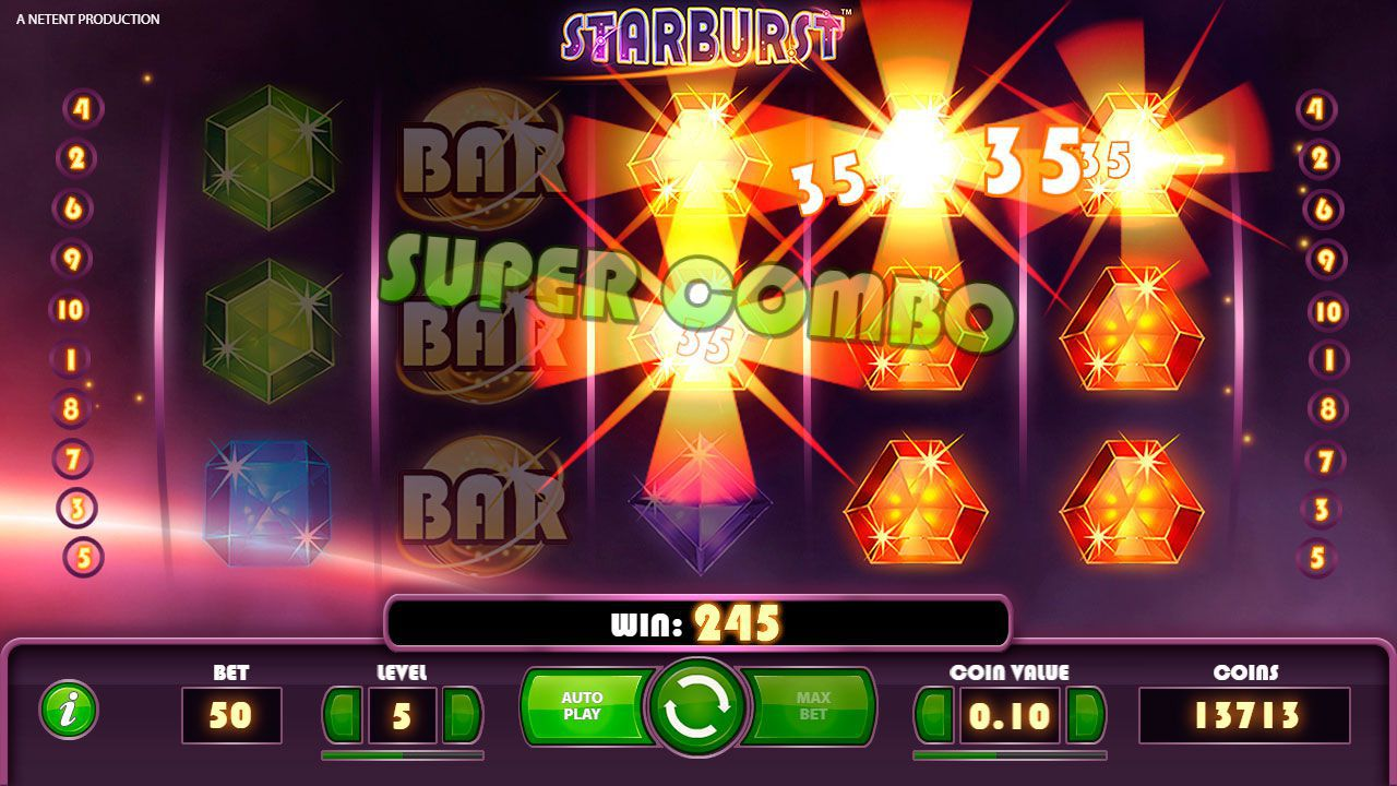 Gaming process at Starburst  slot machine