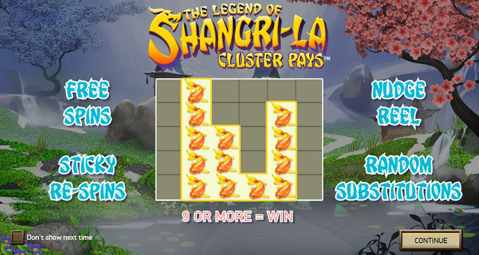 The main features of The Legend of Shangri-La: Cluster Pays slot machine by NetEnt