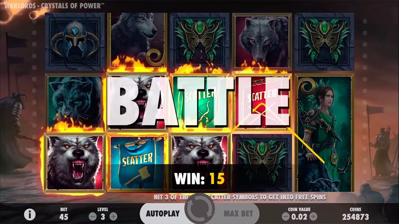 Activation of Battle feature at Warlords: Crystal of Power video slot