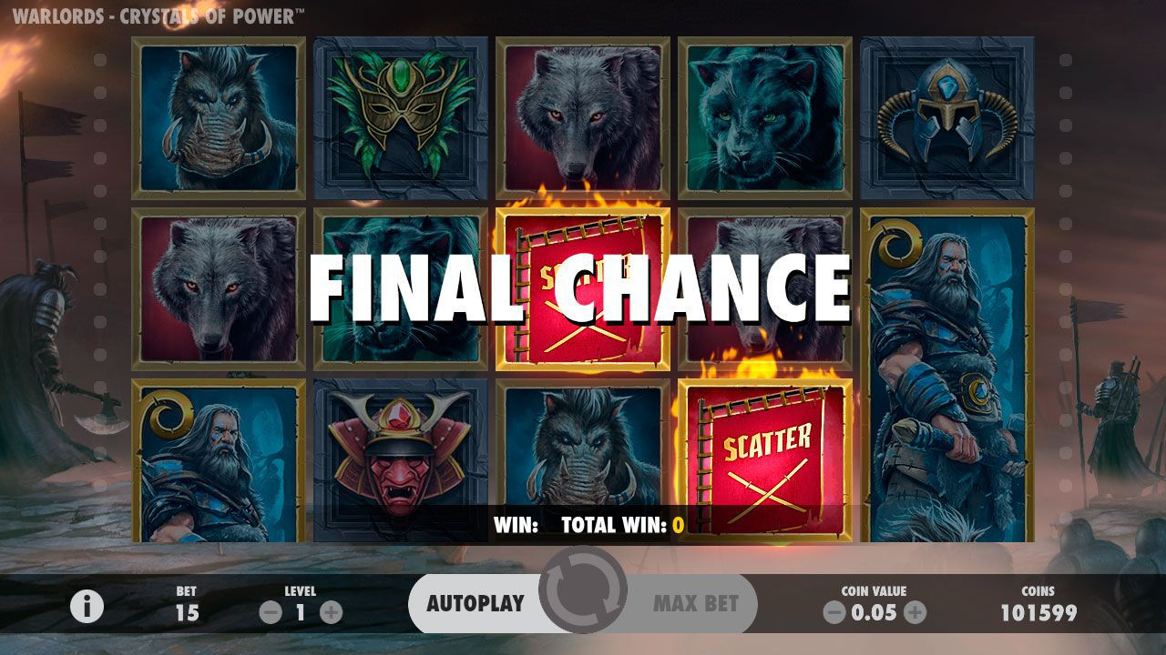 Final Chance feature at Warlords: Crystal of Power slot machine