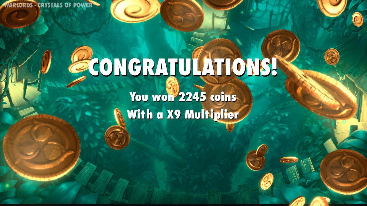 Ending of Free Spins round at Warlords: Crystal of Power video slot