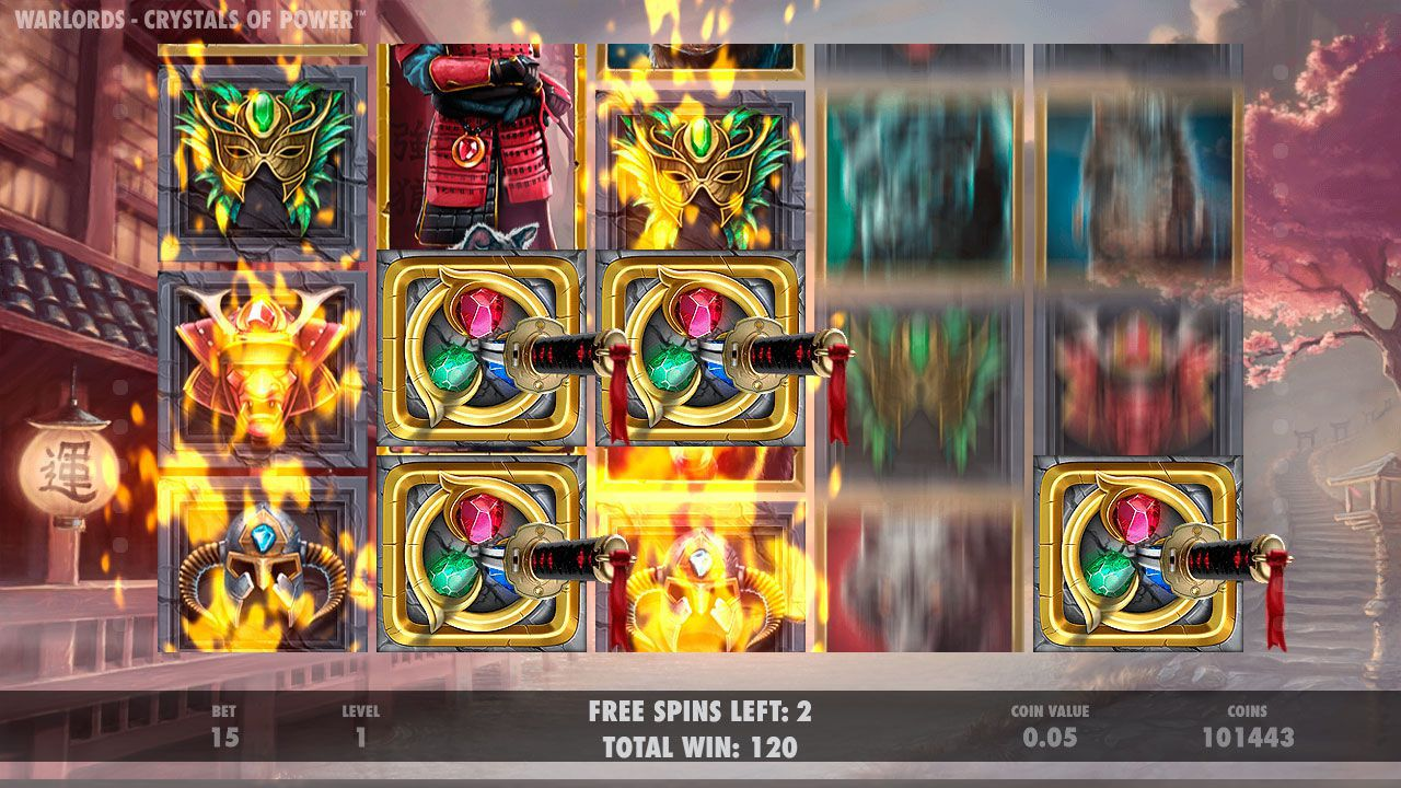 The Samurai Sword feature at Warlords: Crystal of Power slot machine