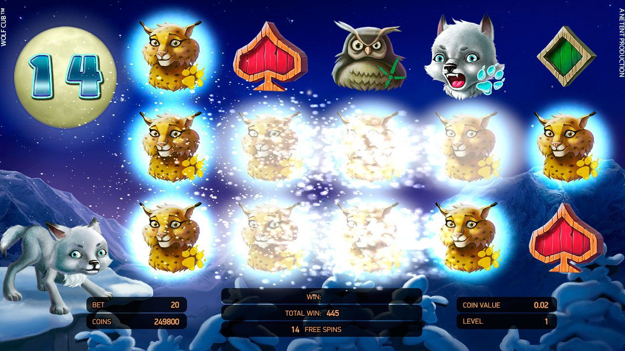 Blizzard feature at Wolf Cub slot machine