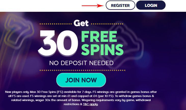 Wink Slots Casino registration of a real money account
