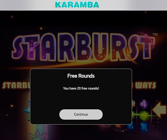 Karamba Casino free rounds on Starburst
