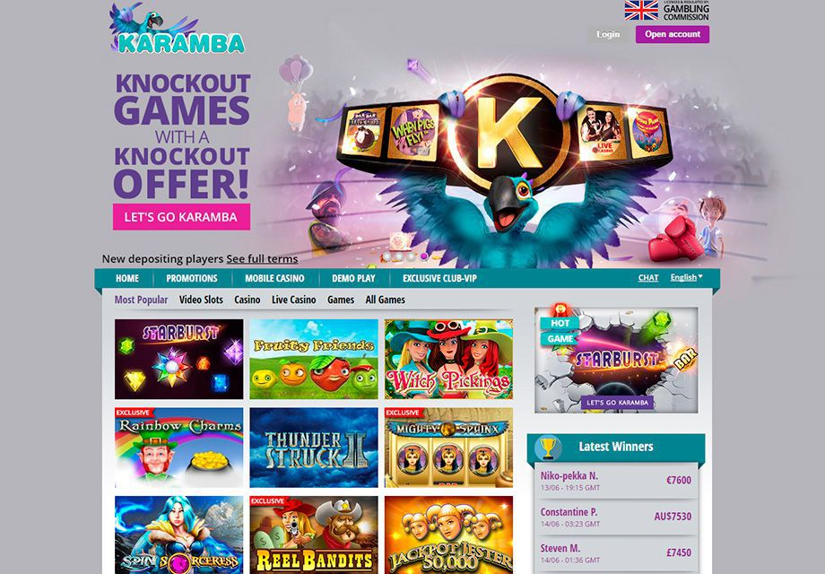 The view of the official web site of Karamba Casino