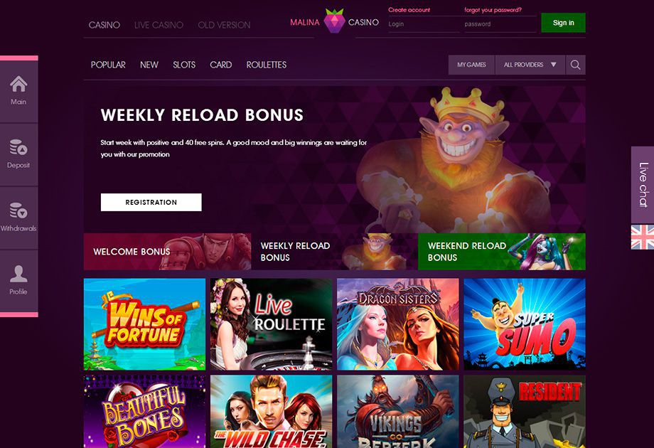Malina Casino official web site to play casino games for real money and for free