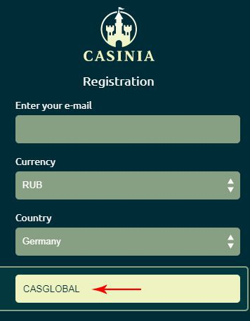 Promocode = CASGLOBAL at Casinia Casino