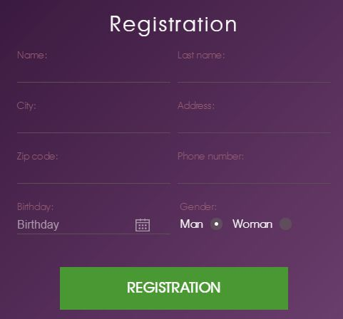 Account registration at Malina Casino