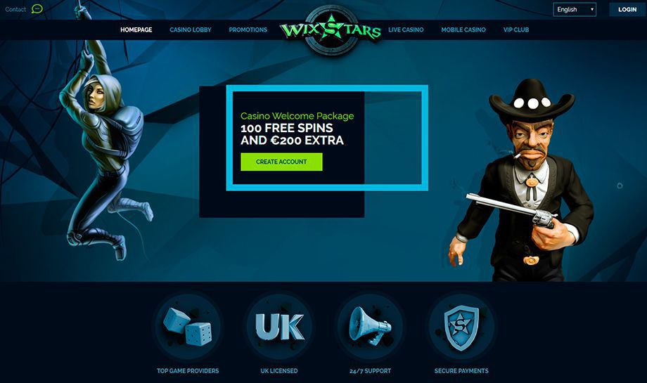 View of the official web site of Wixstars Casino