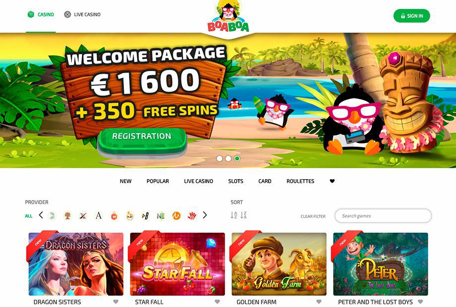 The official web site of BoaBoa Casino