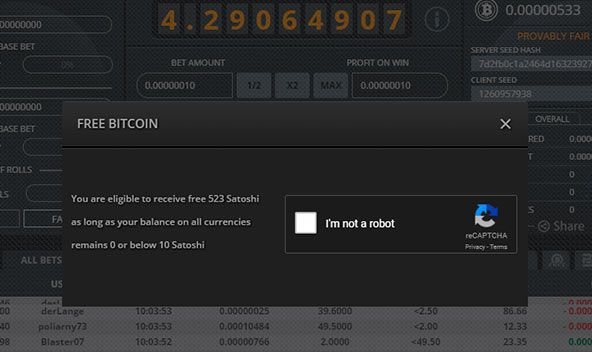 Activation of free Satoshi (µBTC) for gambling