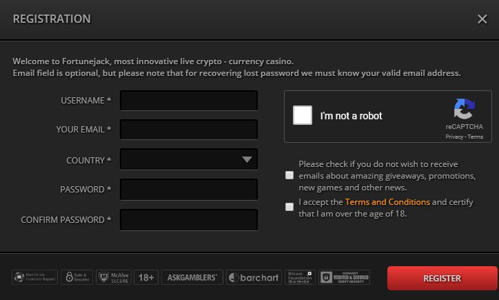 Register At Fortune Jack Casino Sign Up For Fortune Jack Bitcoin