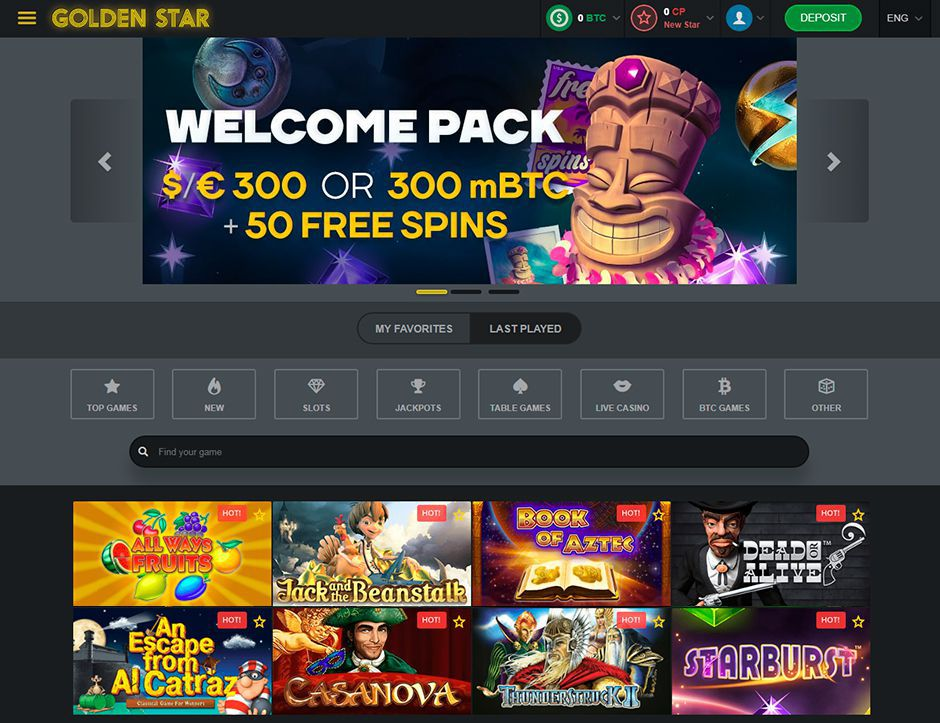 The official web site of Golden Star Casino