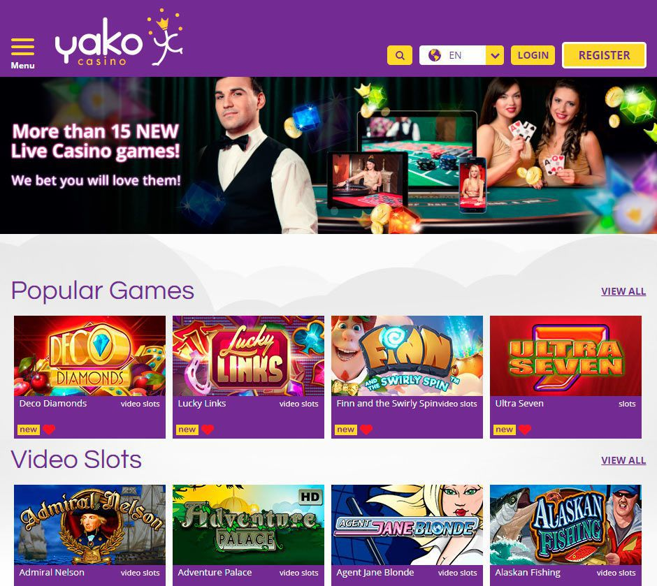 Appearance of the official web site of Yako Casino