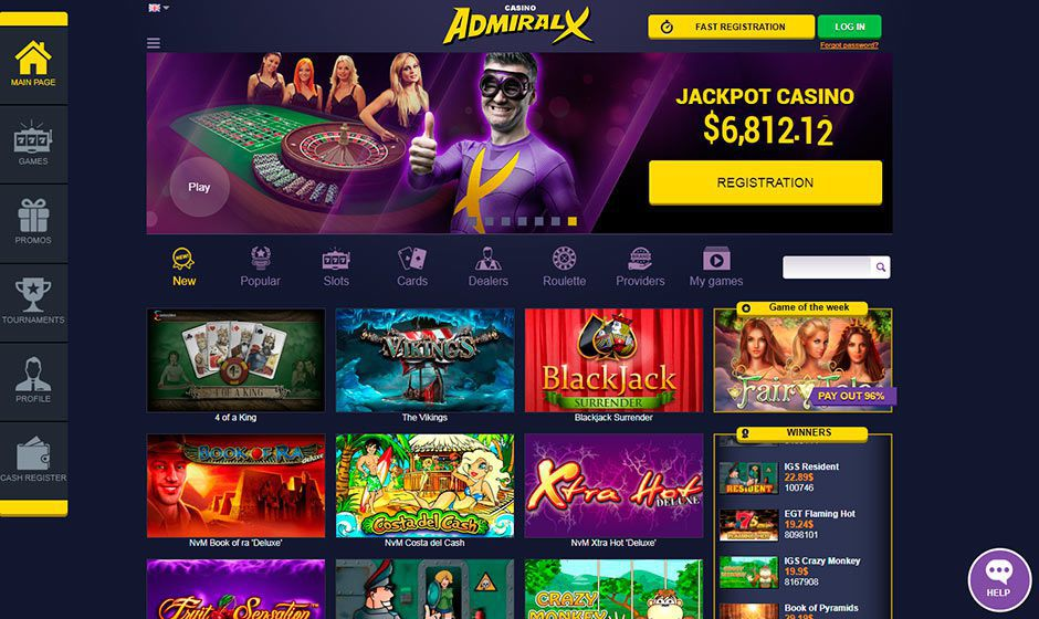 The official web site of Admiral X Casino