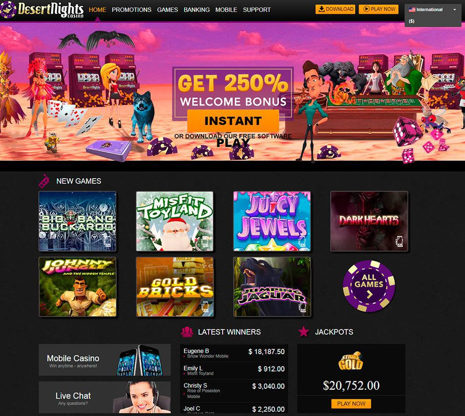 Appearance of the official web site of Desert Nights Casino
