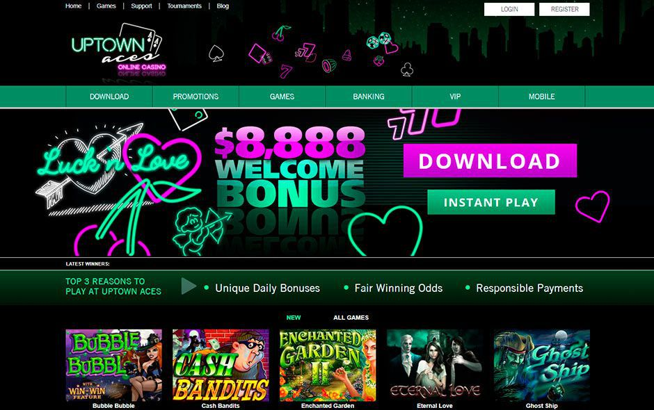 Appearance of the official web site of Uptown Aces Casino