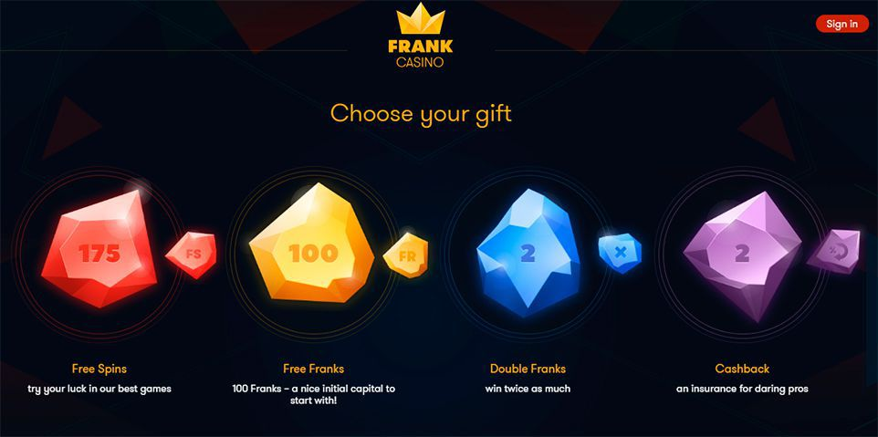 Gifts for registration at Frank Casino